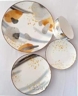 16 Piece Dinner Dish Set, Porcelain Service for 4, Autumn Colors Dinnerware
