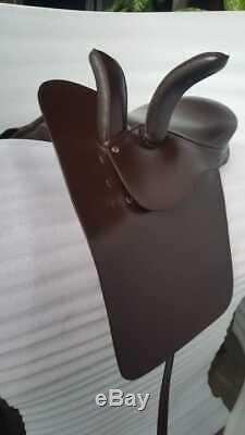 18 Ladies Side Saddle Dark Oiled Leather Brown Color Complete Set