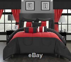 20 Pc Mackenzie Complete color block bedding collection King Comforter Set Red