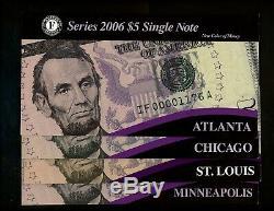2006 $5 FRN Federal Reserve Notes Complete Set of 12 FR Banks NEW Color of Money
