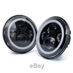2pcs RGB Halo DRL Turn Signal LED Projector Head Lights Fog Lamps Fit Wrangler