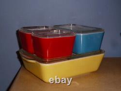 8-pc Complete Vintage Pyrex Primary Color Refrigerator Dish Set #501, 502, 503