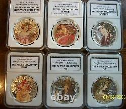 ALPHONSE MUCHA complete colorized 6 coin set 6 OZ 999 SILVER COA, pop 2000