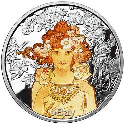 Alphonse Mucha Complete Set Of 6 1 Oz Silver Colorized Coins Job-dance-rose-ivy