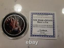 Anne Stokes Dragons Silver Complete Set Colorized VERY RARE! 1 Troy oz each. 999