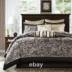 Aubrey 12 Piece Complete Bed Set Black/Champagne/Multi-Color NEW