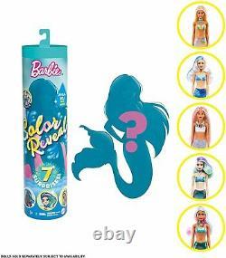 Barbie Color Reveal Doll Set Complete Mermaid Series Surprise Metallic Teal Tube