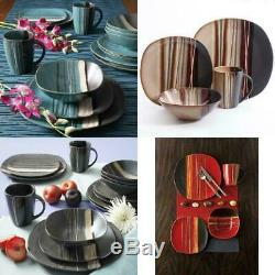 Beautiful 32-Piece Dinnerware Set Round Square Plates Bowls Mugs, Many Colors