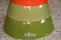 COMPLETE SET 4 VINTAGE Pyrex Glass COLORS MIXING BOWLS EXCELLENT