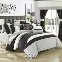Chic Home 24 Piece Placido Complete Bedroom Set with Octagon Embroidery Color