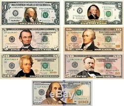 Complete Set of 7 COLORIZED 2-SIDED U. S. Banknotes $1/$2/$5/$10/$20/$50/$100