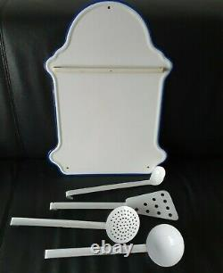 Enamel Spoon Rack Wall Mounted White Color Scarce Complete Set Dutch