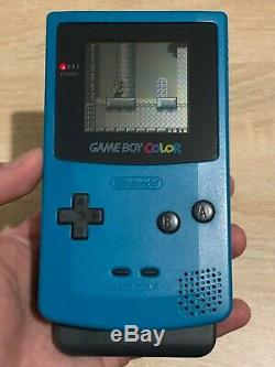 Gameboy Colour Teal Complete In Box with game and rechargable battery set