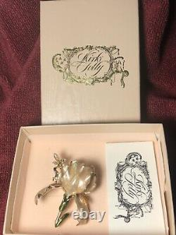 Gorgeous Champagne Color Kirks Folly Iris Fairy Brooch Pin Complete Gift Box Set
