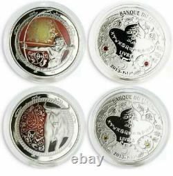 Lebanon 5 Liras Complete Set Of 12 Zodiac Signs Colored Proof Silver Coins