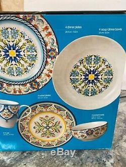 New 222 Fifth Tunisia 18 Piece Porcelain Dinnerware Set Colorful Design