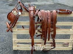New Leather Single Driving Harness Complete Set With Colour Tan Full Size