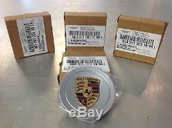 Porsche Center Caps. Complete Set of Four. Silver with Colored Porsche Crest