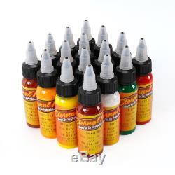 Professional Tattoo Ink Set 16 Complete Colors Pigment Kit 1 Oz (30ml) Pigment