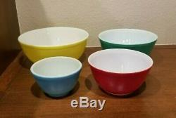 Pyrex Primary Colors Mixing Bowls Complete Set of 4