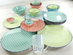 Rustic Stoneware Dinner Set 16 Pcs Multi Color Dinnerware Kitchen Bowls Plates