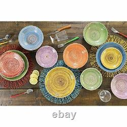 Rustic Stoneware Dinner Set 18 Pcs Multi Color Dinnerware Kitchen Plates Bowls