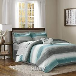 Saben Complete Comforter and Cotton Sheet Set Aqua/Multi-Color New