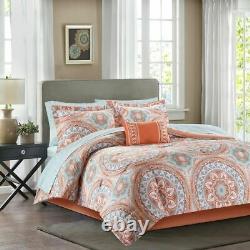 Serenity Complete Bed Comforter Sheet Set Madison Park King Size Coral Color