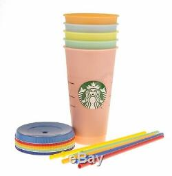 Starbucks Color Changing Rainbow Reusable Cold Cups Complete Set Of 5 24oz 2019