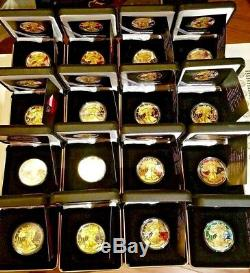 US State Flags American Silver Eagle Gold-Gilded/Colorized Complete Set 16 Coins