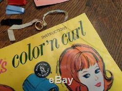 VINTAGE BARBIE COLOR N CURL SET WithWORKING DRYER WIGS CURLERS NEAR COMPLETE EXC