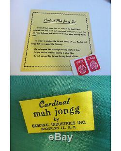 VINTAGE TRI COLOR LUCITE MAH JONG SET BAKELITE RACKS 1960's 152 TILES COMPLETE