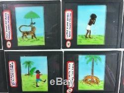 Vintage LITTLE BLACK SAMBO magic lantern COMPLETE 27 glass SLIDE Set with story