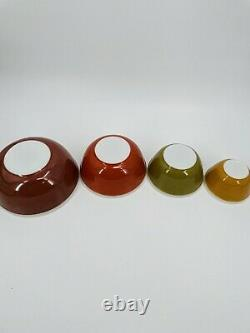 Vintage Pyrex Americana Fall Colors Mixing Nesting Bowls Complete Set 4 Rare