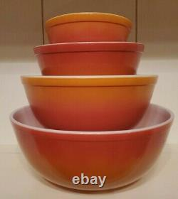 Vintage Pyrex Flameglo Mixing/Nesting Bowls Complete Set Of 4 Fall Colors