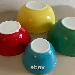 Vintage Pyrex Nesting Bowls in Primary Colors Pyrex Mixing Bowls Complete set
