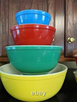 Vtg Pyrex Primary Colors Mixing Bowls & Refrigerator Dishes. Complete12 Pc Set