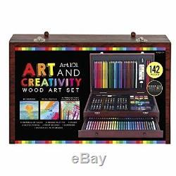 142-pc Complet Art Set Enfant Adulte Pastel Couleur Dessin Peinture Luxe En Bois Cas