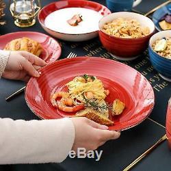 16pc Dîner Set Assiettes Tasses Bols En Céramique Multi Couleur Vaisselle Salle À Dîner Pour 4