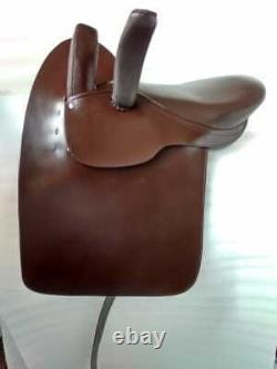 18 Inch Eng. Ladies Side Saddle Dark Oiled Leather Brown Color Complete Set