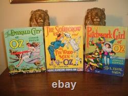1939 Complete Wizard Of Oz 9 Livre Set +original Ad L. Frank Baum Couleur Illus