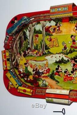 1950's Ex! Complet Setwalt Disney Character Train + Plateforme Colorée-marx