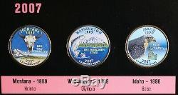 1999-2008 Ensemble Complet De 50 Pièces Colorisée Etat 25c Quarters Avec Dossier