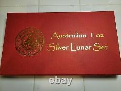 1999-2010 Australie Lunar I Compléter Set Avec Cas 3 Pièces De Couleur