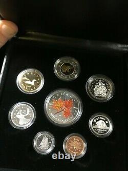 2001 Complete 8 Coin Set Inc. 5 $ Dollar, Pièce De Monnaie Feuille D'érable Argentée, Couleurs D'automne