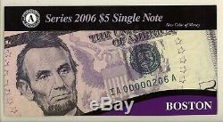 2006 5 $ Frn Federal Reserve Notes Ensemble Complet De 12 Fr Banks Nouveau Couleur De L'argent