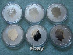 2008 À 2019 Australian Silver Lunar II Colorisé 1/2 Oz (ensemble Complet De 12 Pièces)