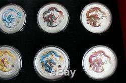 2012 Australie Silver Dragon Lunar Series II 1 Oz Colorisée Set Complet De 12