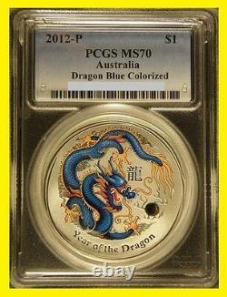 2012 Colorisation Silver Dragon D Seulement 10x 1 Oz Complete Set Rare Rare 70 Gpc Mme