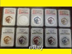 2012 Dragon Colorisé Argent 10 Pièces Complet Rare Complet Ngc Ms 70 Rare